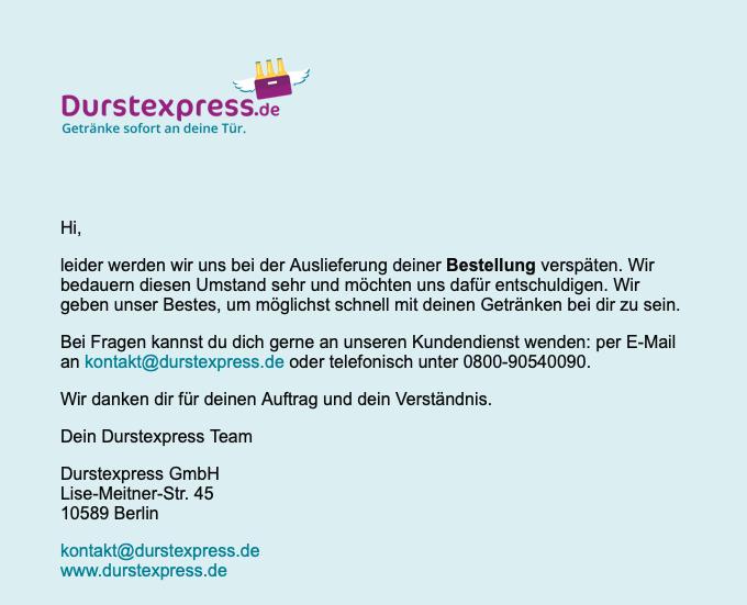 Mail von Durstexpress