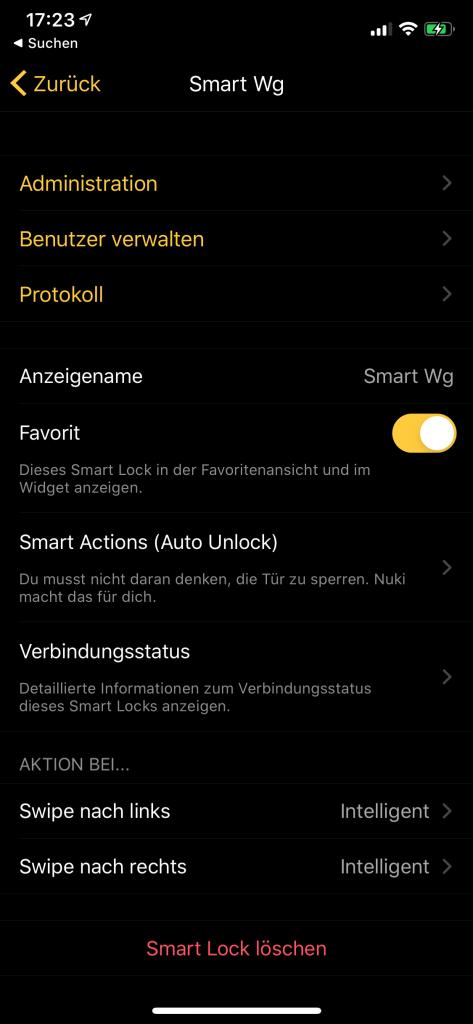 NUKI App Einstellungen